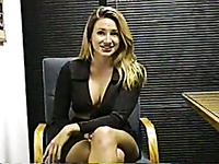 My voluptuous blonde secretary strips and teases in office
