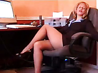 Mean and beautiful blonde secretary showing ass at work