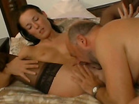 Elderly dude licks Irene's pussy after getting his dick sucked