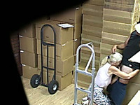 Hidden cam clip with my co-worker sucking my cock at the warehouse