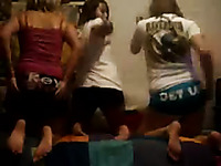 Nasty teen bitches showing their asses in gym shorts