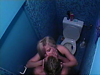 Skinny blonde girl was hungry for a cock in the restroom