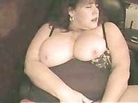 MY BBW queen watches porn and masturbates with huge dildo