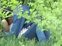 Some horny couple having sex in the public park - spy video