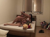 Tanned brunette chick enjoys hot doggystyle banging indoors