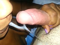 Just shaved cock to suck ebony slut in her mouth and cum