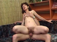 Impatient mature slut is riding her lover's dick reverse cowgirl style