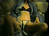 Fucking my blonde milf wife on the couch in missionary style