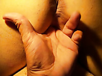 Fingering the pussy of my chubby white wife from behind