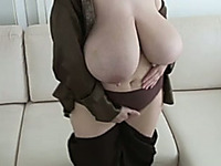 My naughty wife shows off her huge boobs every chance she gets