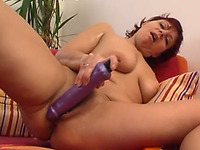 Thick amateur white wife is playing with a big sex toy