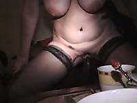Busty blonde milf wife rode a BBC and got creampied