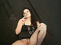 Bulky and curvy brunette European milf smokes on webcam