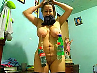 Extreme BDSM games of a busty brunette amateur webcam slut