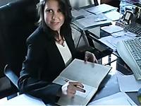 Cute black haired office slut obediently blows my huge dick
