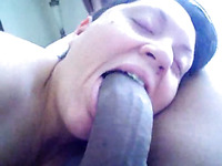 A big black dick makes her a cock sucker and pole swallower
