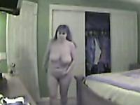My nasty chubby milf wife on hidden cam flashing and fucking a big dark skin guy