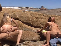 Two amateur girls get their pussies slammed in outdoor foursome scene