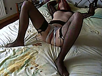 My hot milf white wife in black stockings and white pussy
