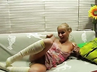 Homemade clip with two amateur blondes making lesbian love