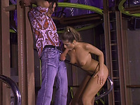 Brown-haired whore sucks and rides a prick on the stairs