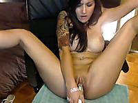 Busty webcam model fucks her pussy with her rabbit vibrator