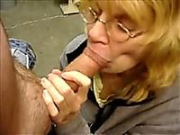 Mature blonde lady eats my fat pink dick like a sausage