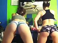 Two beautiful teen sluts on webcam wiggle butt cheeks