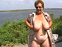My chubby mature wife demonstrates her body outdoors