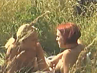 Nika and Marina the amateur lesbians get naughty in the field