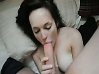 Big-breasted brunette sucks my shaft and enjoys it a lot