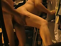 Drilling my milf wife on hidden cam video in the storage room