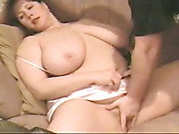 Fucking my voluptuous BBW mature wife doggystyle on couch