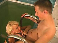 Russian friend bangs one hot mature blonde hooker at sauna
