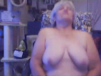 Time worm fat BBW webcam granny poses her saggy melons and giant ass