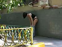 Beautiful skinny brunette teen pisses in her yoga pants
