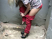 Cute Russian blonde hottie was caught pissing in public