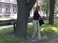 Amateur and nerdy blonde lady pees a gallon in public