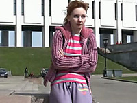 Cute redhead Russian lady pees in her pants in public