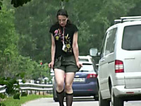 Pale skin amateur chick from Russia makes her khaki shorts wet