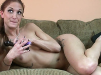 Pale skin redhead white girl on the couch masturbating