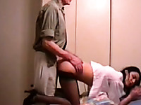 Skinny brunette slut fucked in doggy style in the hotel room