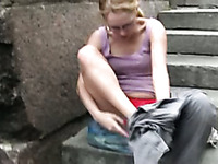 Shameless bitch Lena pees her pants in a public place