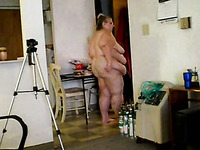 250 pound BBW wife jiggles her giant belly and flabby butt