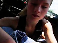 Cute and skinny blonde teen giving a very quick blowjob in the car