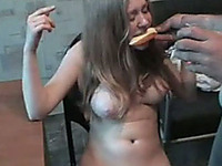 Nude girl smokes and demonstrates her shaved pussy