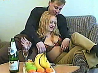 Curly-haired blonde gets her twat and mouth banged deep