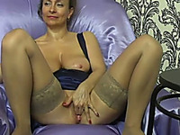 Extravagant milf white lady on webcam feels playful
