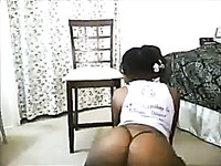 Deliciously hot ebony webcam model is shaking her phat butt like a pro