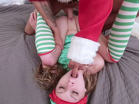Bad Santa fucks raunchy elf in missionary position